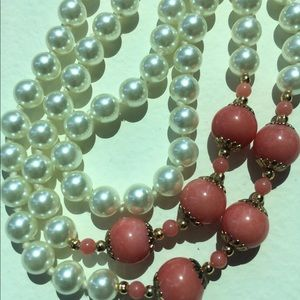 Vintage Pearl Necklace with Coral Beads